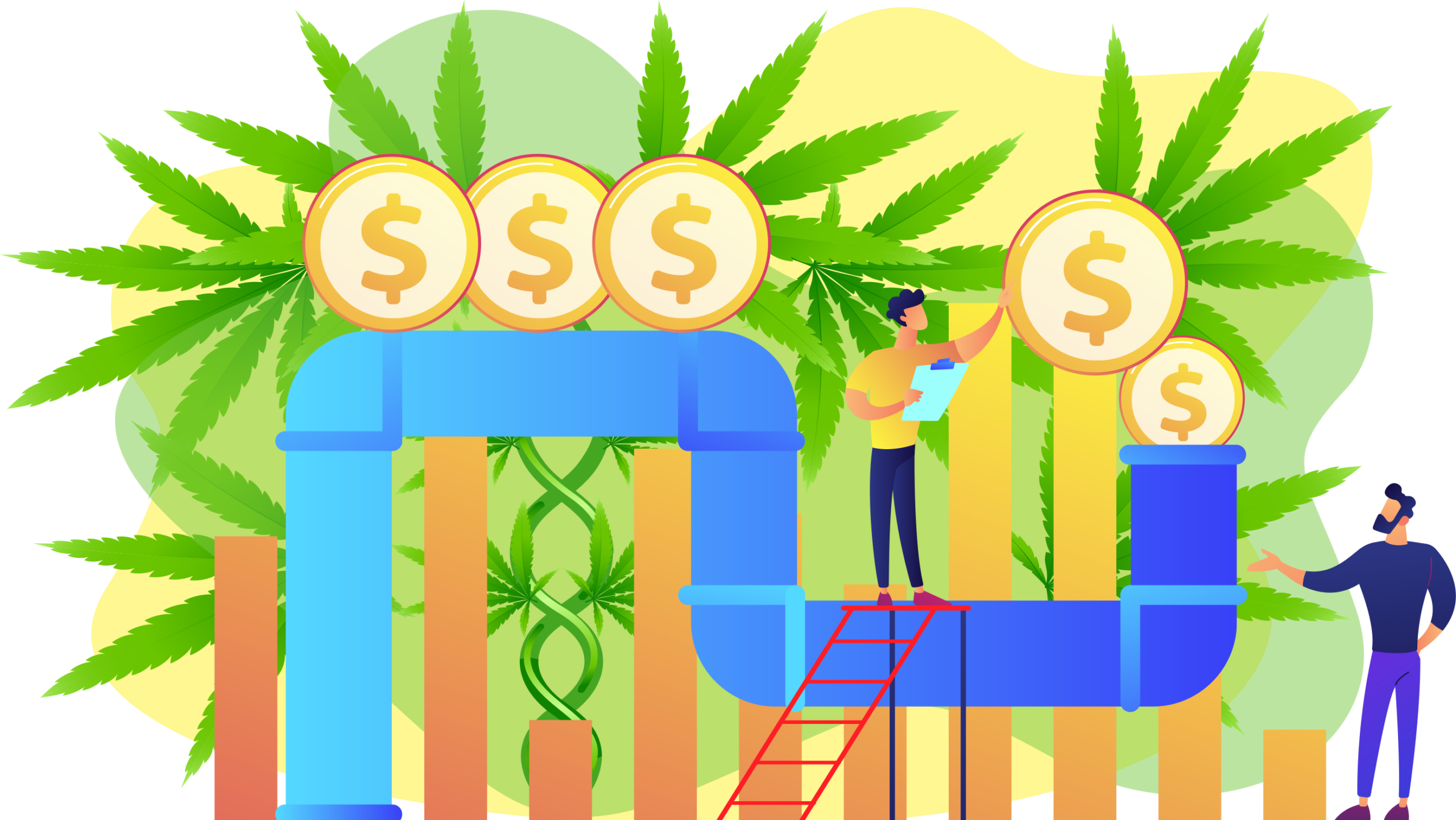 Illustration of a pipeline with cannabis leaves in the background