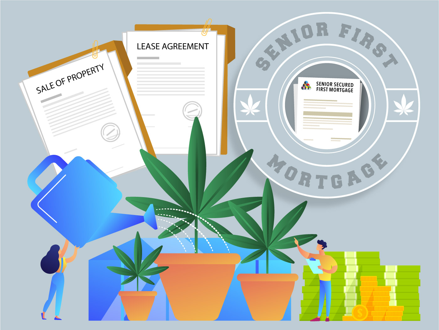 Image of Cannabis Growing with a Senior First Mortgage badge.